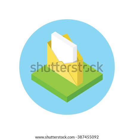 Isometric envelope yellow open design flat. 3D envelope and letter, envelope icon, mail and open envelope, envelope template, invitation envelope, open or close envelope vector illustration - stock vector