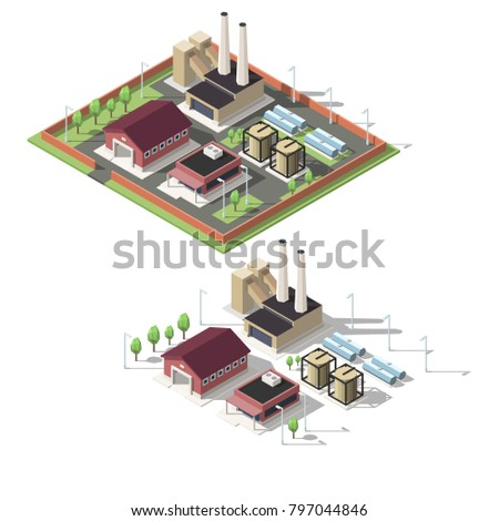 Isometric factory vector illustration.