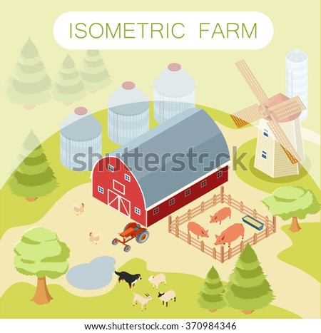 Isometric farm banner - stock vector