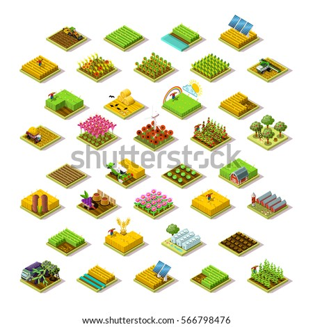 Isometric farm house building staff farming agriculture scene. 3D isometric barley city map building icon logo set game tile collection farmland vector illustration