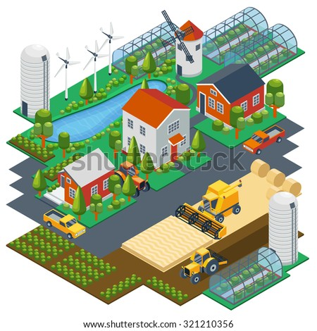Isometric farm scene. Village setting with buildings, tractor, combine, pickup, pond and mill. Greenhouse and field, nature landscape, harvest rural. Vector illustration - stock vector