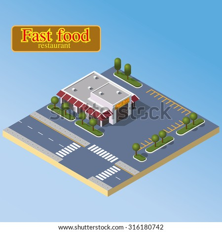 Isometric fast food restaurant and parking zone. Modern cafe icon. Isometric city illustration. - stock vector