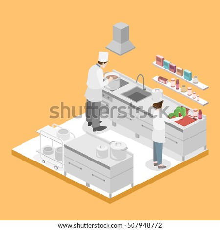 Restaurant Kitchen Illustration restaurant kitchen stock images, royalty-free images & vectors
