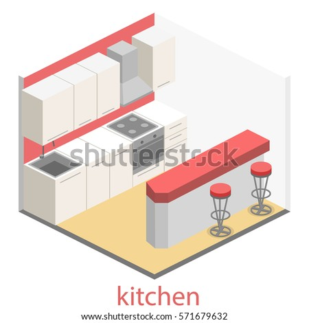 Isometric flat 3D interior of modern kitchen. full set of kitchen furniture vector ilustration.
