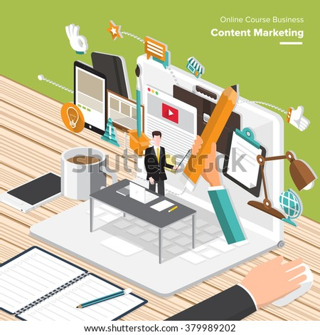Isometric Flat design concepts for Content Marketing, Finding Target of Market, Mobile Banking. Concepts for web banners and promotional materials. - stock vector