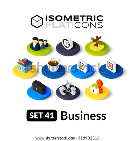 Isometric flat icons, 3D pictograms vector set 41 - Business symbol collection - stock vector