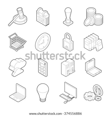 Isometric flat icons, 3D pictograms vector set. Business symbol collection