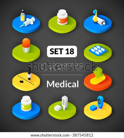 Isometric flat icons, 3D pictograms vector set 18 - Medical symbol collection - stock vector