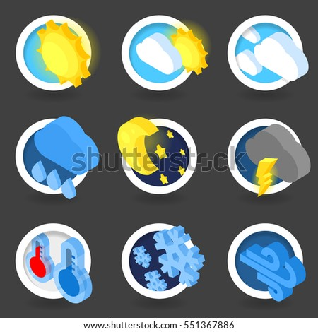 Isometric flat icons, Weather symbol collection