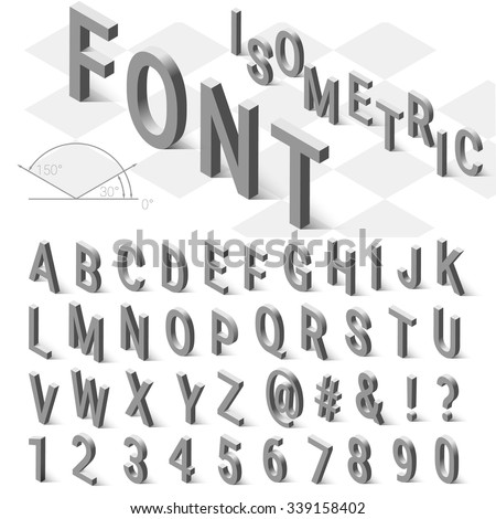 Isometric font alphabet with drop shadow on white background. Vector illustration - stock vector