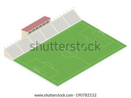 Isometric football field with a grandstand. EPS10 vector illustration - stock vector