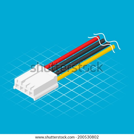 Isometric Four Pin Floppy Connector Vector Illustration - stock vector