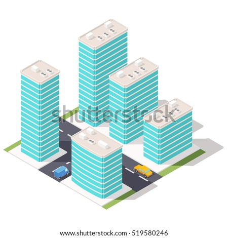 Isometric fragment of city streets and skyscrapers.