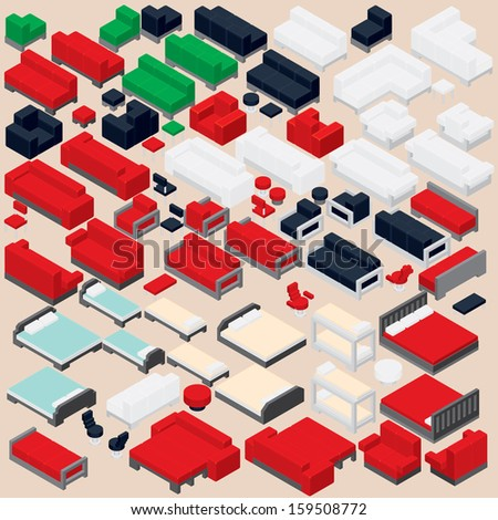 Isometric Furniture Collection. Set of Various Vector Sofa, Bed, Chair, Armchair and other Furnishing - stock vector