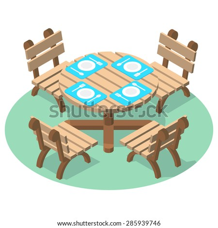 Isometric furniture - dinner table with cutlery and four chairs. Wooden table and chairs for cafe or restaurant. - stock vector