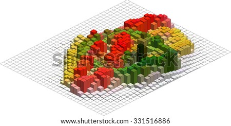 Isometric Graphic Pattern. Abstract Vector 3D Geometric Colorful Background - stock vector