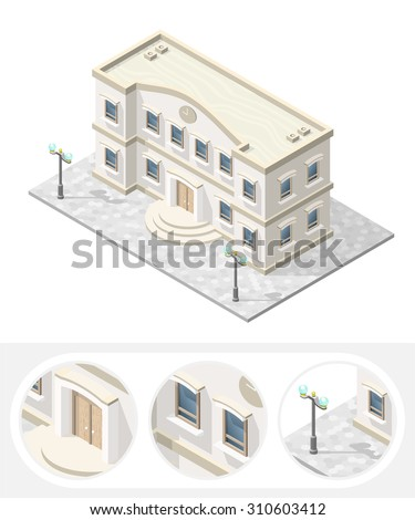 Isometric High Quality City Element with 45 Degrees Shadows on White Background. School - stock vector