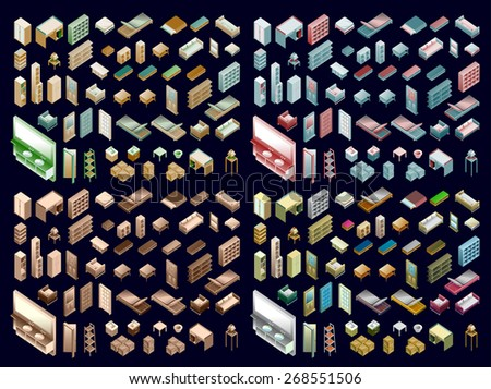 Isometric Home Planning. 3D Vector Creation Kit. interior element custom - stock vector