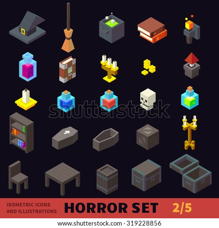 Isometric horror flat vector icon set: hat, potion, broom, coffin, candle, books, chair, table, candlestick. For halloween, horror games and cartoons. - stock vector