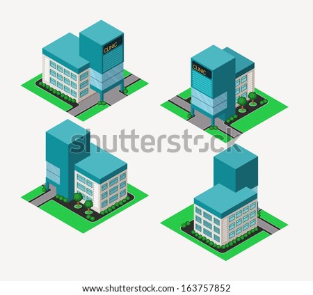 isometric hospital, available in 4 view - stock vector