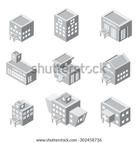 isometric hospital building icon - stock vector