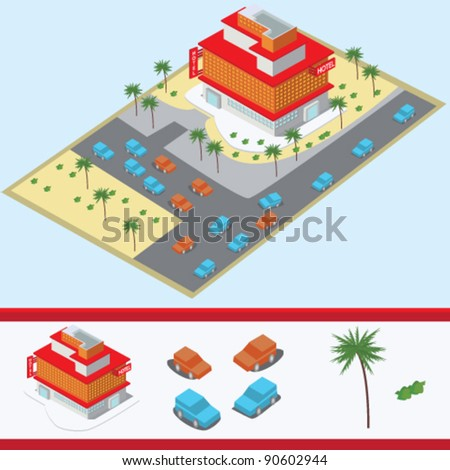 isometric hotel building illustration vector - stock vector