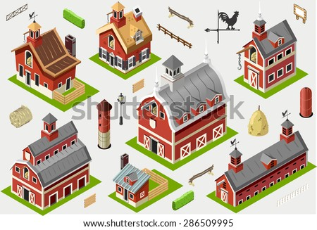 Isometric house building farm barn vector stock vector for 3d house building games online