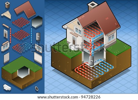 Isometric House Geothermal Earth Energy Heat Pump Diagram. 3D Isometric Geothermal Ground Distribution Diagram. Heat Geothermal energy Pump Loop Thermal Ground Energies Power House Vector Illustration