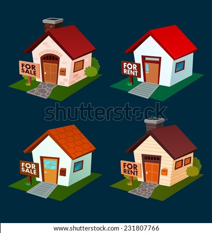 isometric house illustration for rent and selling promotion - stock vector