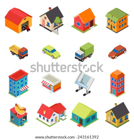 Isometric House Real Estate Car Icons Retro Flat Symbols Set Isolated Vector Illustration - stock vector