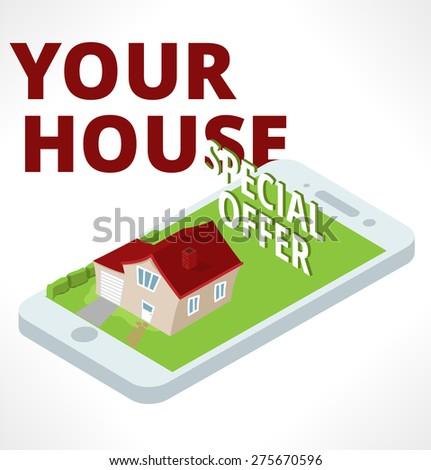 Isometric house stand on smartphone.  - stock vector
