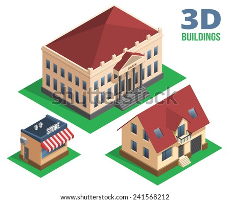 Isometric House Store and Building Graphic Designs on White Background. - stock vector