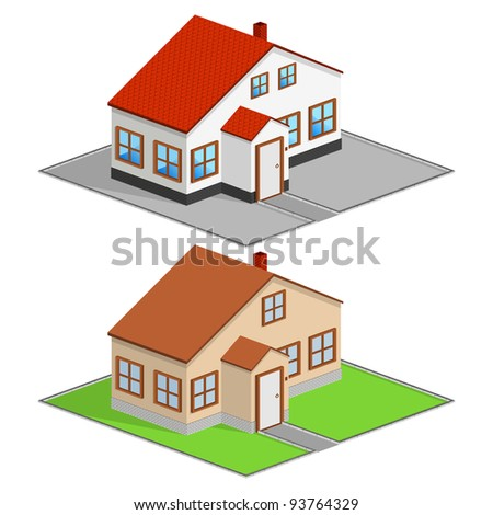 Isometric house, vector illustration - stock vector
