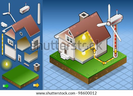 Isometric house with wind turbine - stock vector