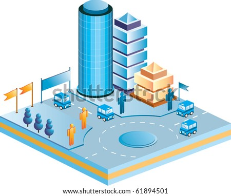 Isometric houses, town  skyscrapers and streets made in perspective projection for design sites, business portals and real estate agencies