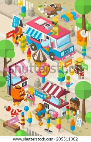 Isometric ice cream street, colorful vector background - stock vector