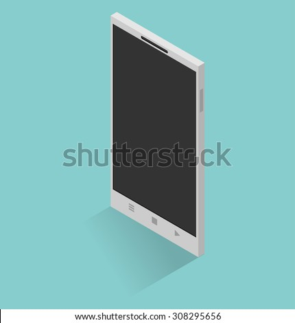 Isometric icon of mobile phone in flat style - stock vector
