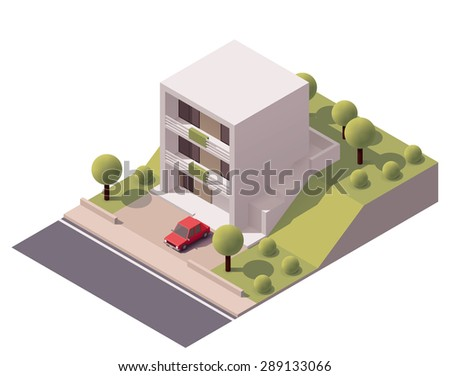 Isometric icon representing modern house with backyard - stock vector