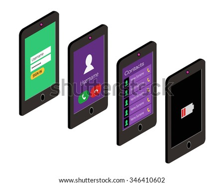 Isometric icon set of mobile phone in flat style. User interface concept. - stock vector
