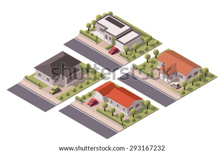 Isometric icon set representing houses with backyard - stock vector
