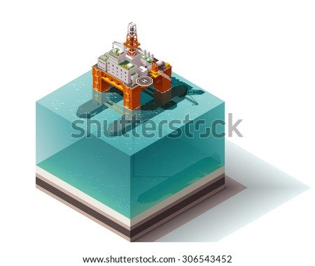 Isometric icon set representing offshore oil platform - stock vector