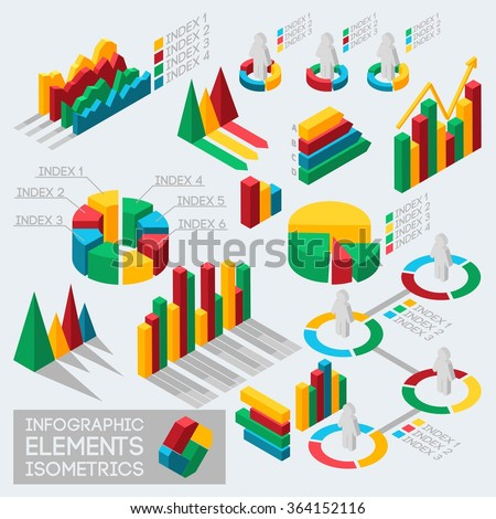 Isometric icons infographic design elements graphics and statistical charts and graphs of data Meto. Vector illustration - stock vector