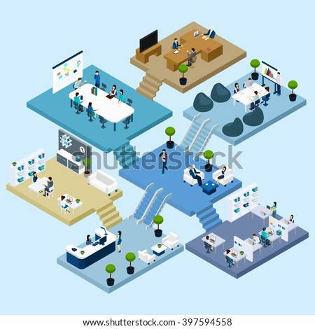 Isometric icons of multistoried office center with abstract scheme of floors rooms and activities vector illustration