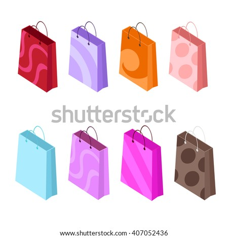 Isometric icons of shopping bags. Shopping bags isolated on white background. Set of colorful bags. Vector illustration. - stock vector