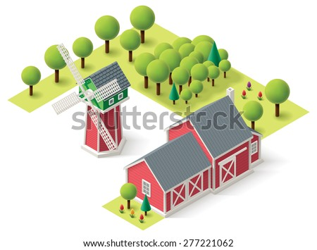 Isometric icons representing windmill and barn - stock vector