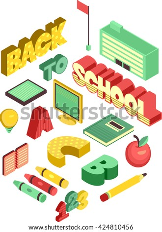 Isometric Illustration Featuring School Supplies - stock vector