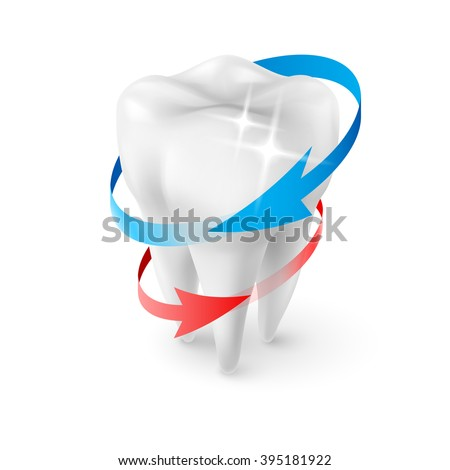 Isometric Illustration Herbal and Fluoride Protection Icon of a Tooth - stock vector
