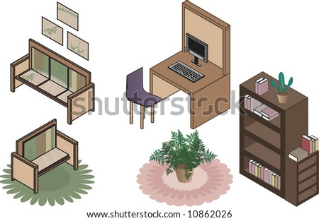 Isometric illustration of office clip art all in individual groups, and easy to edit.