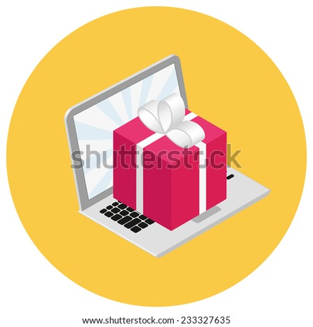 Isometric Illustration Red Box Gift On Stock Vector 233327635
