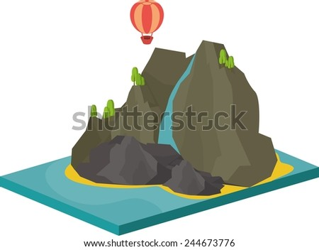 isometric illustration of sea landscape with an island in the sea and cliffs - stock vector